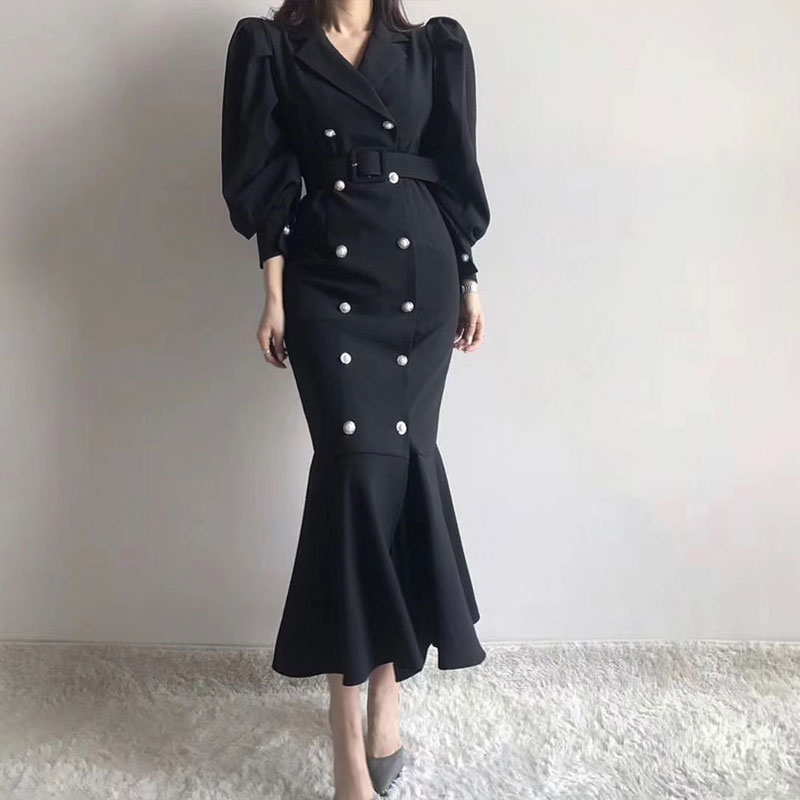 Korean Vintage Double Breasted Long Suit Dress Women Puff Sleeve Notched Collar Belted Mermaid Dresses Vestido Mujer 2020 Spring