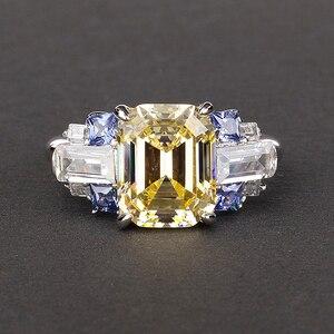 Image 4 - PANSYSEN 100% Bạc 925 Tạo Ra Moissanite Sapphire Đá Quý Cho Nữ, Nhẫn Nữ Cưới Đính Đá Trang Sức Viễn Chí Bảo