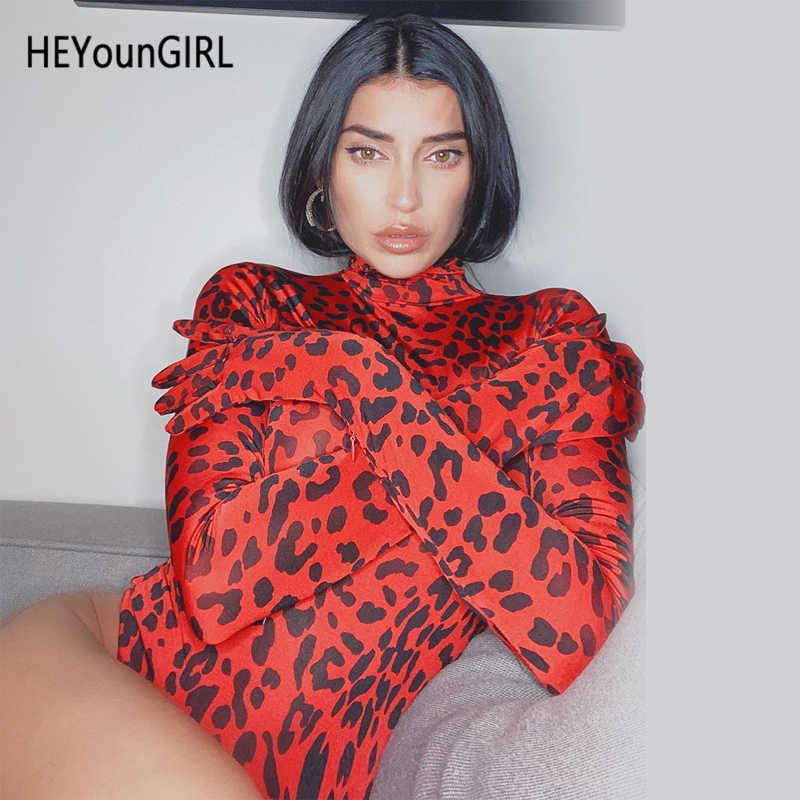 HEYounGIRL Leopard Printed Turtleneck Bodysuit Long Sleeve with Gloves Bodycon Jumpsuits Ladies Red Cheetah Body Women Autumn