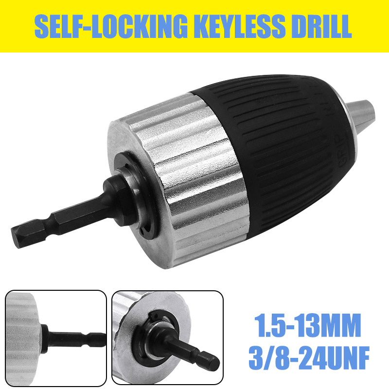 Self-locking Keyless Electric Drill Chuck 1.5-13mm 3/8-24UNF For Impact Wrench Conversion Tools Set Holder Drill Bit Accessories