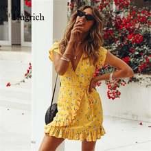 Женское платье с цветочным принтом и v образным вырезом модное
