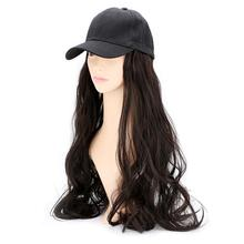 Cap with Wig Synthetic Hair with Baseball Caps Natural Wave Dark Brown Women Girl's Wigs Hat Cosplay Extension Long Hair Hats недорого