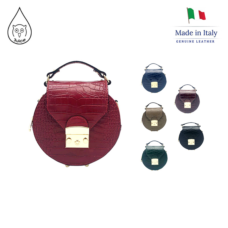 JUICE ,made In Italy, Genuine Leather , Women Bag,handbag/cross Body,Cocco Print Leather 112206