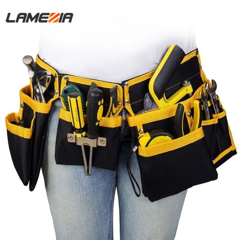 LAMEZIA Oxford Cloth Multi-functional Electrician Tools Bag Waist Pouch Belt Storage Holder Organizer