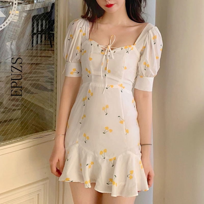 Summer Dress 2019 Vintage White Ruffle Lace Up Beach Sexy Dress Elegant Kawaii Yellow Cherry Casual Mini Dress Korean Vestidos