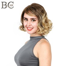 BCHR Short Curly 13*4 Synthetic Lace Front Wigs Ombre Wig for Women Brown to Blonde Wig for Party short inclined bang curly synthetic lace front wig