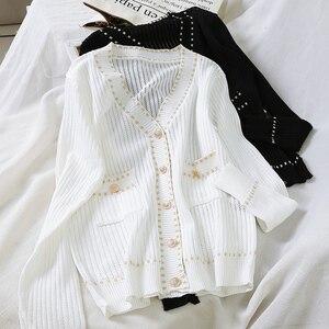 Женский вязаный однобортный Кардиган, маленький жакет с ароматом, свободная футболка черного и белого цвета для ранней осени