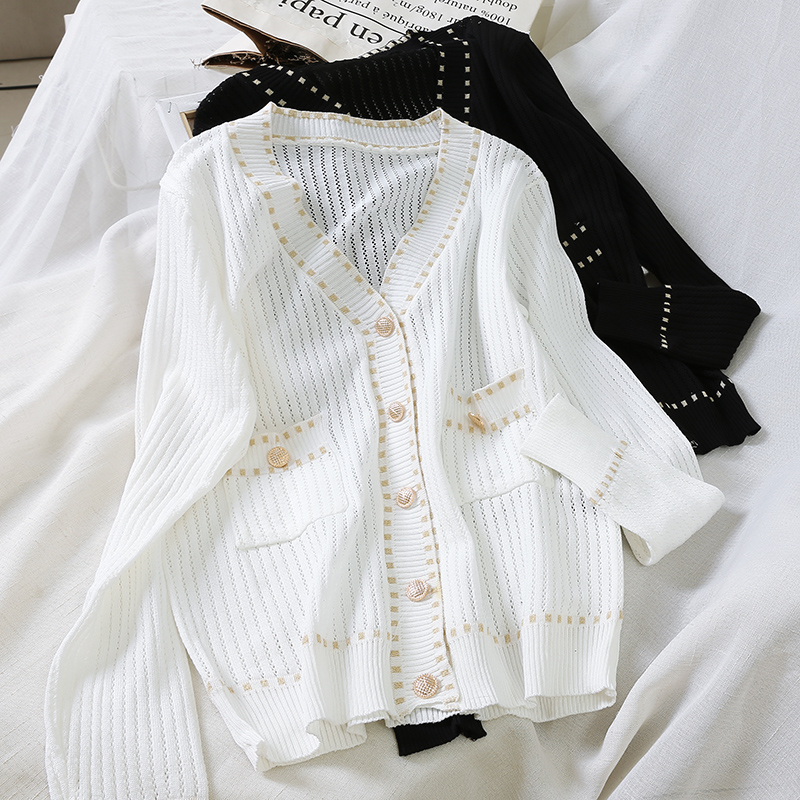 Women Early Autumn New Small Fragrance Jacket Women's Loose Single Breasted Cardigan Knitted Sweater Black White T-shirt Tops