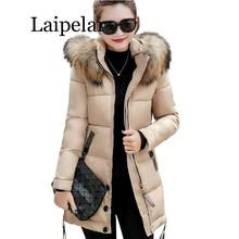 цена на Fur Collar Winter Parkas Women Cotton Padded Coat Thickening Jacket Female Slim Hooded Zipper Warm Outerwear Overcoat