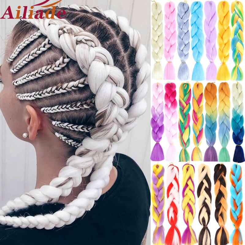 AILIADE 100 г 24 дюймов Радужный Омбре Цвет волосы пряди, синтетические волосы, для увеличения объема, твист Jumbo плетение наращивания волос канека...