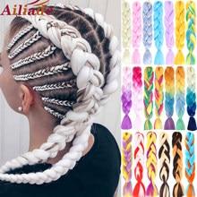 Ailiade 100g 24 polegadas arco-íris ombre cor pacotes de cabelo sintético extensão do cabelo torção enorme trança kanekalon cabelo para mulher