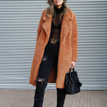 Women Lamb Faux Fur Long Jacket Coats Cardigans Tunic Female Winter Thick Warm Solid Coat Fleece Soft Plush Streetwear 3XL