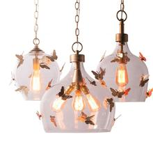 mini glass pendant light gold butterfly creative french lamp american country hanging kitchen hallway dining room