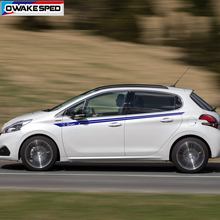 1 jeu Sport rayures taille lignes pour Peugeot 107 108 2008 308 5008 206 207 course style voiture carrosserie autocollants Auto les deux côtés décalcomanies