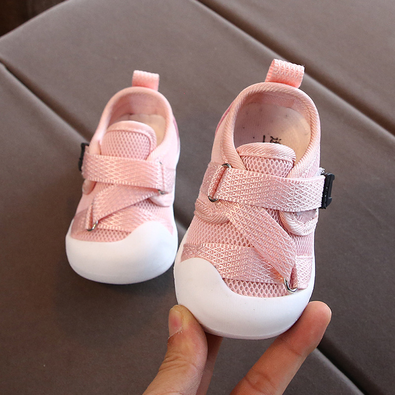 Toddler Baby Shoes For Girl Kids Sneakers Cross-tied Mesh Soft Bottom Infant First Walkers Shoes Newborn Pure Color Casual Shoes