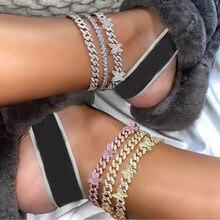 Punk cubana link chain strass tornozeleira para as mulheres ouro prata cor borboleta pulseira de cristal tornozeleira na perna pé jóias