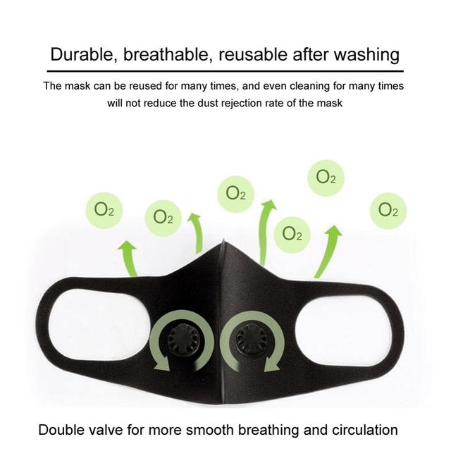 Black Double Valve mouth Mask anti dust mask Activated carbon filter Windproof Mouth-muffle proof Flu Face masks Care 2