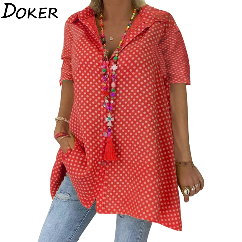 2020 Summer Plus Size  Womens Tops And Blouses Polka Dot Turn Down Collar Short Sleeve Office Long Shirt Streetwear Blouse Femme