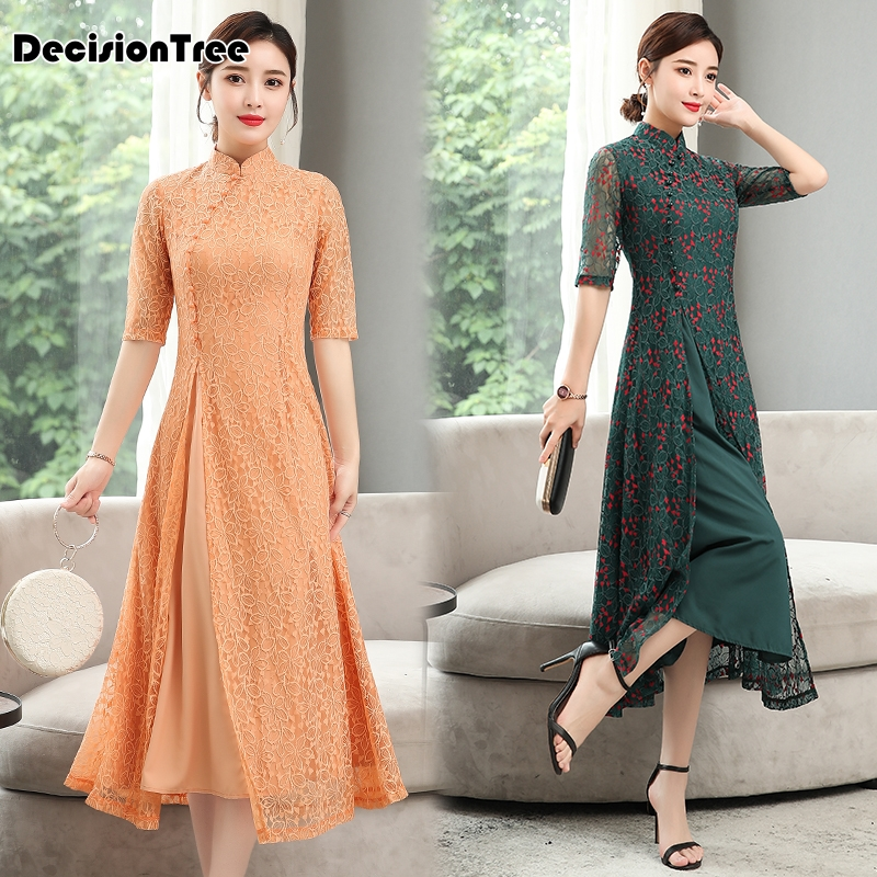 2019 Cheongsam Ao Dai Dress Ao Dai Vietnam For Women Vietnam Traditional Dress Lace Ao Dai Dress Oriental Cheongsam Modern