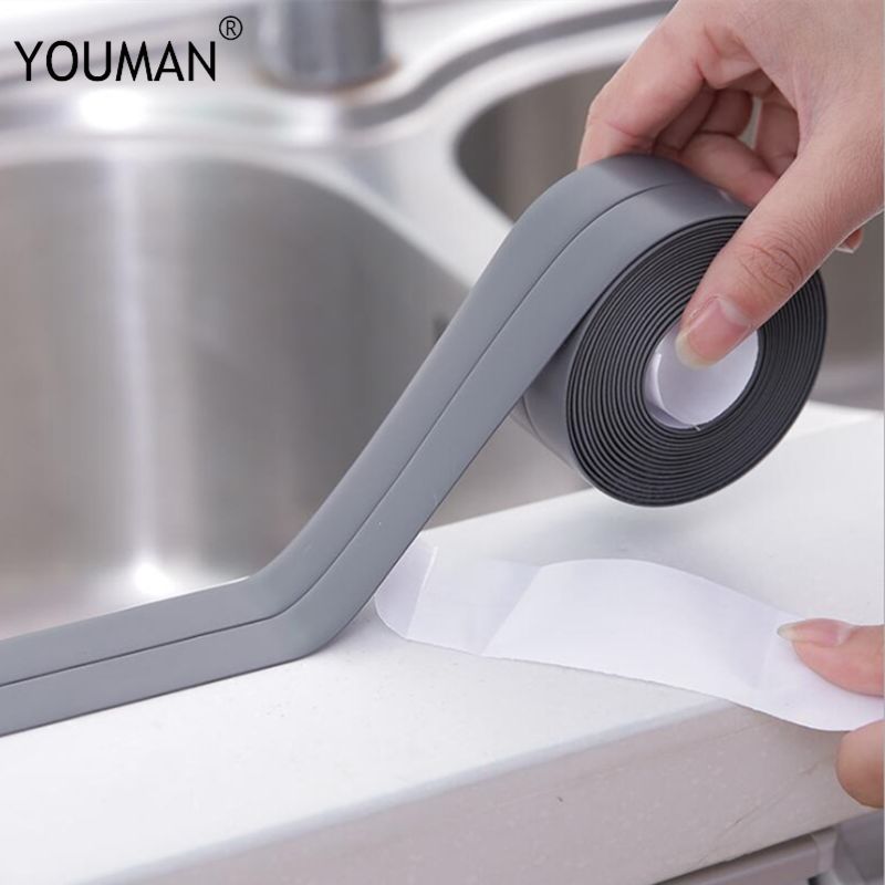 3.2m Bathroom Kitchen Shower Water Proof Mould Proof Tape Sink Bath Sealing Strip Tape Self Adhesive Solid Wallpaper Border Tape
