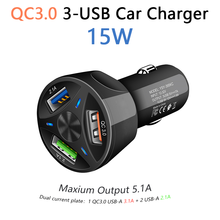 Usb-Car-Charger QC3.0 Universal iPhone 3-Port Samsung S10 in 15W for 11x8