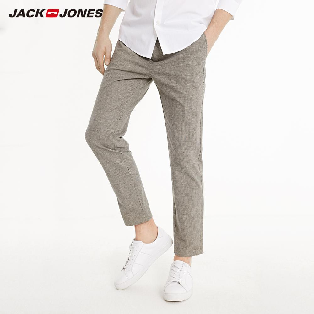 JackJones Men's Winter Slim Fit Casual Plaid Linen Crop Pants|style 219114564