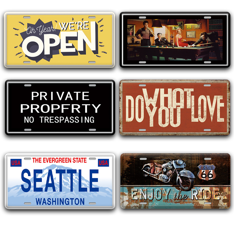 Back Off Open Metal Door Sign Vintage Embossed Beer License Plate Pub Home Decor Shabby Chic Seattle USA France Italy Signs image