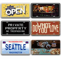 Back Off Open Metal Door Sign Vintage Embossed Beer License Plate Pub Home Decor Shabby Chic Seattle USA France Italy Signs