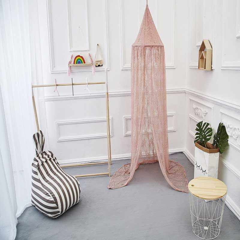 Nordic Princess Lace Mosquito Net Canopy Bedcover Curtain Bedding Dome Baby Girls Room Decoration