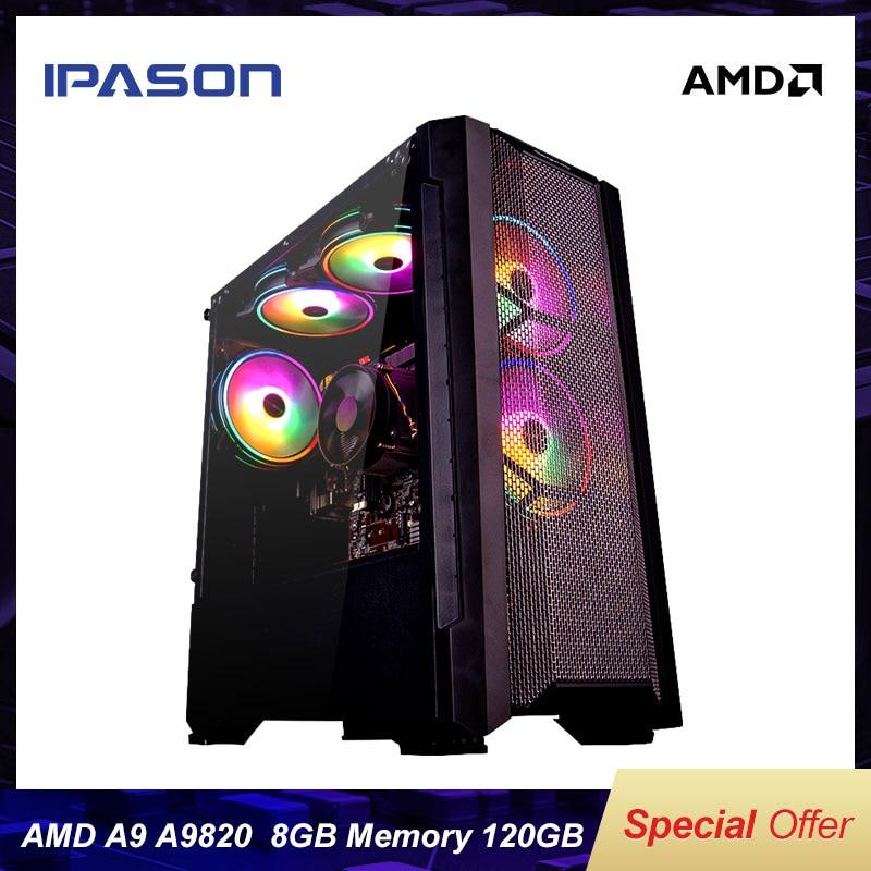 A9 9820 8-core apu r7 350 placa integrada gpu ddr3 8g ram 120g ssd comparado com i5-7400 de alto desempenho