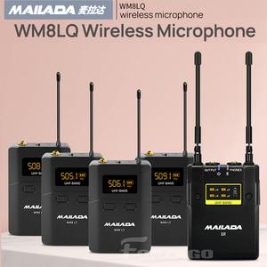 Mailada WM8LQ MICRÓFONO INALÁMBRICO sistema UHF 4 transmisores 1 receptor condensador inalámbrico Video Mic para cámara Canon Nikon Sony