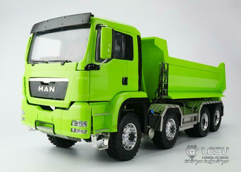 1/14 RC LESU 8*8 Hydraulic MAN Painted Green Dumper Truck Model Metal Chassis Light Sound Radio THZH0355