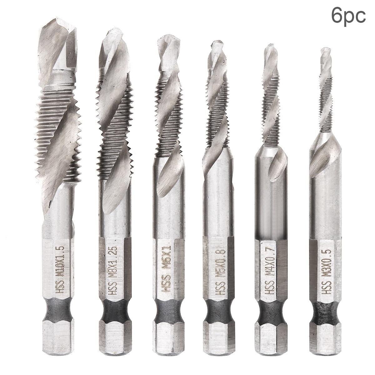 6pcs/lot Hex Shank HSS Screw Screw Point Metric Thread Male Drill Bit Set