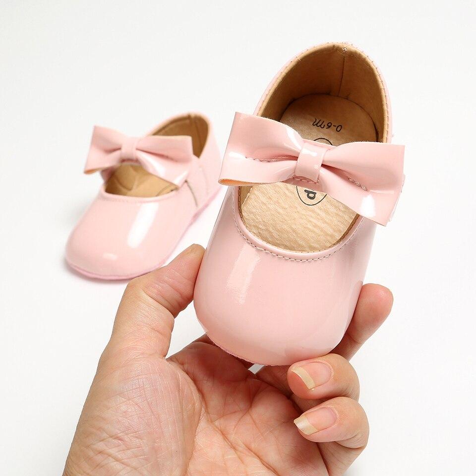 Anti-slip Newborn Baby Girl Bling Crib Pram Shoes Bow Soft Sole Prewalker Shoes