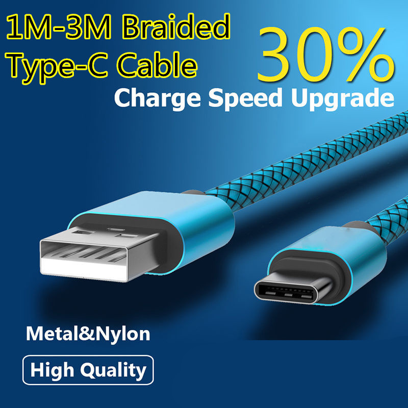 Fast Charging Nylon Braided Wire TYPC-C USB <font><b>Cable</b></font> 27cm/<font><b>1</b></font>/<font><b>2</b></font>/3M for <font><b>Samsung</b></font> S10 20 Huawei P20 30 40 Phone Data Sync Charger <font><b>Cable</b></font> image