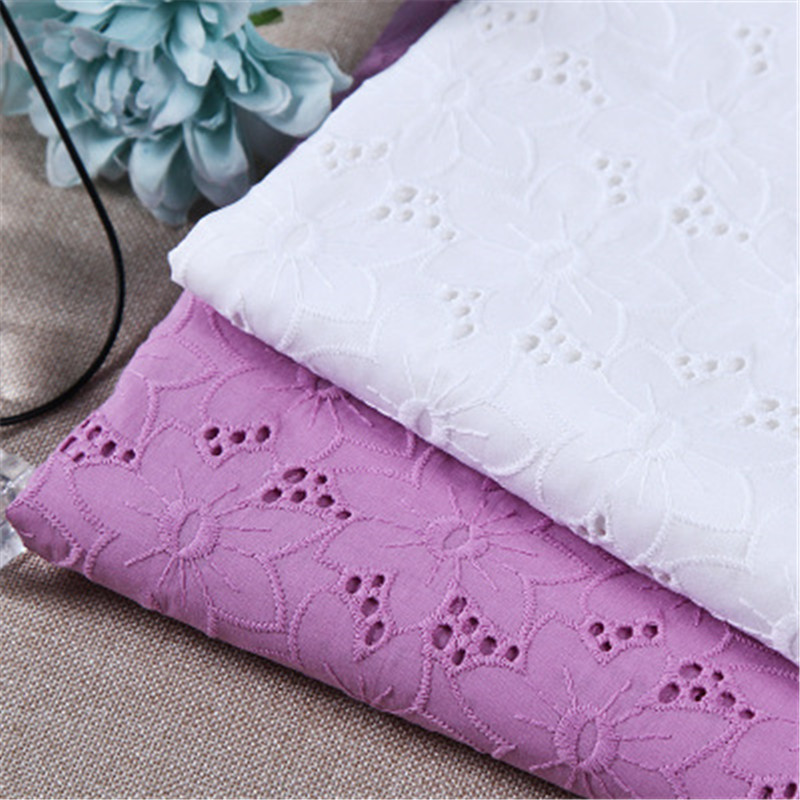 100*132 Cm Cotton Hollow Embroidery Fabric Embroidered Fabric Lace Clothing Hug Pillowcase Tablecloth Accessories