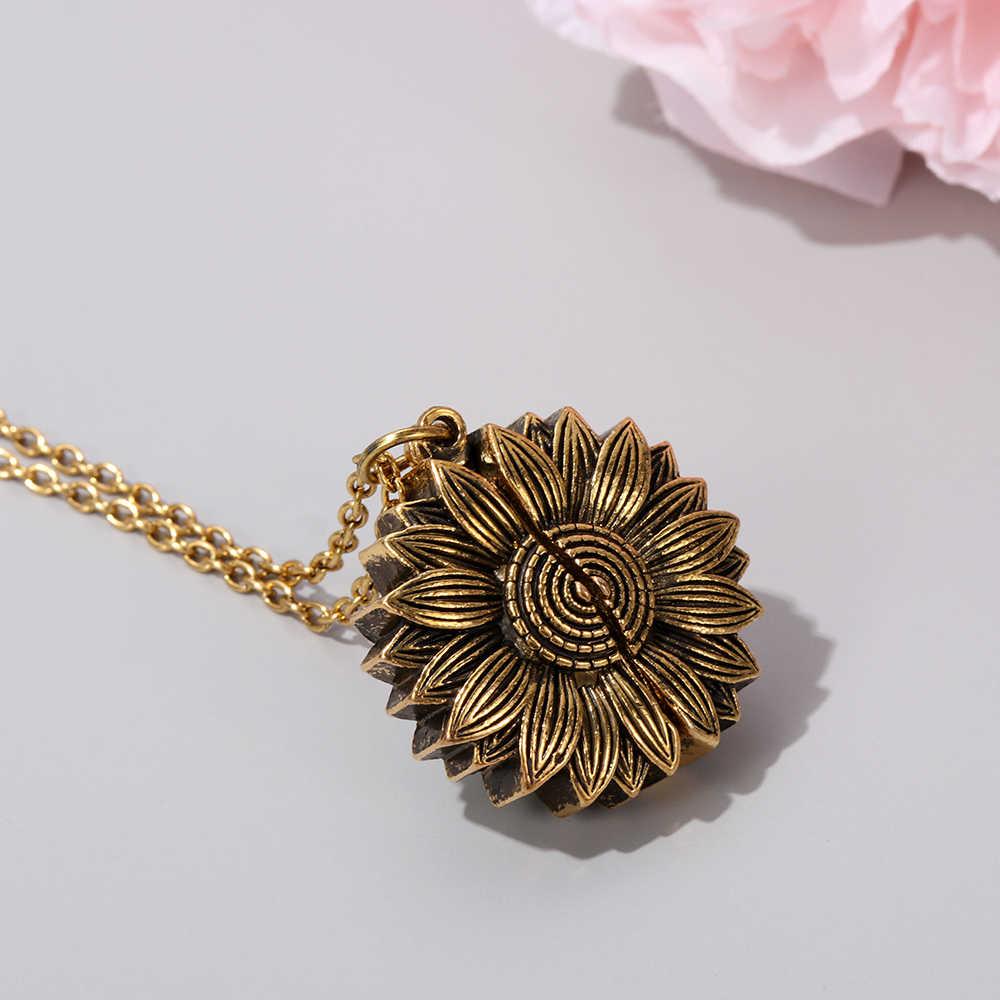 1Pcs Wanita Baru Kalung Emas Anda Sinar Matahari Saya Terbuka Liontin Bunga Matahari Liontin Kalung Rantai untuk Perhiasan Pria Wanita hadiah