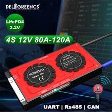 12V BMS Smart BMS 4S 80A 100A 120A UART 485 peut modbus Bluetooth écran LCD pour 12V LiFePO4 batterie RV