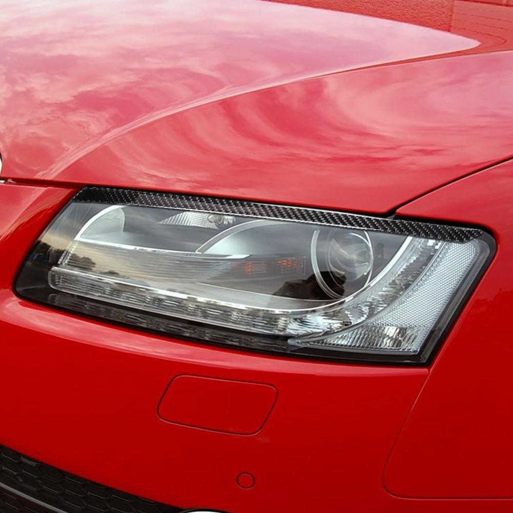 For Audi A4 A5 Front Headlamp Eyebrows 2009-2016 Auto Accessories Carbon Fiber Headlights Eyebrows Eyelids Car-styling Stickers