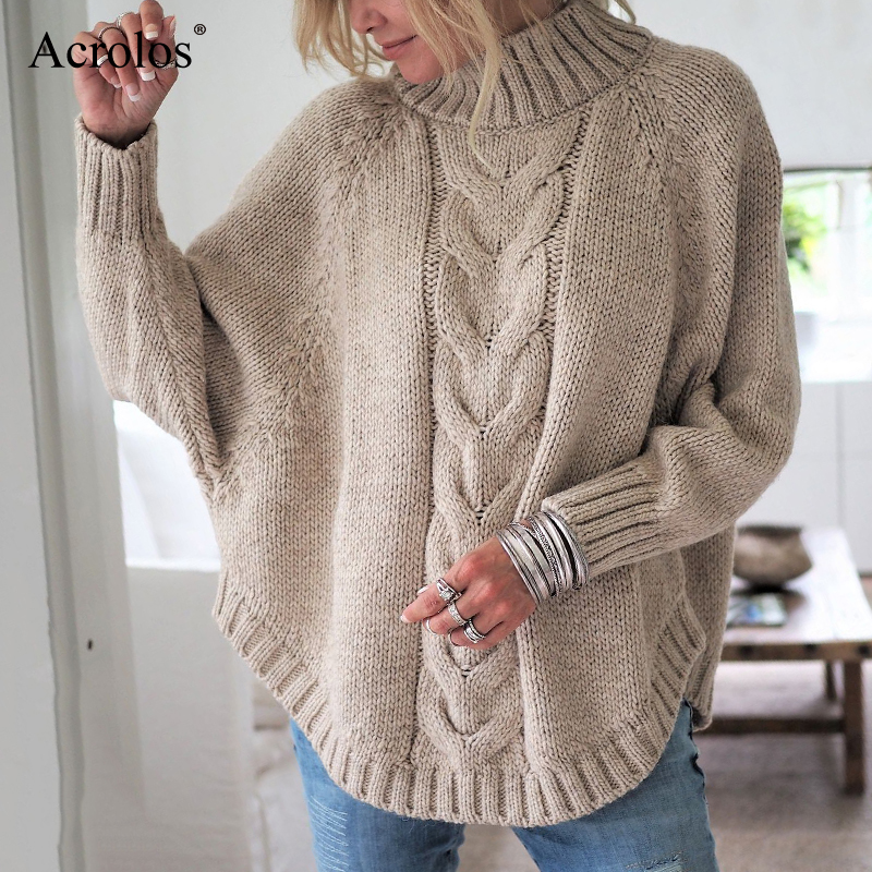Turtleneck Sweater Women Solid Loose Knitted Pullovers Woman 2020 Autumn Winter Casual Jumpers 3XL Pink Fashion Pullover Femme