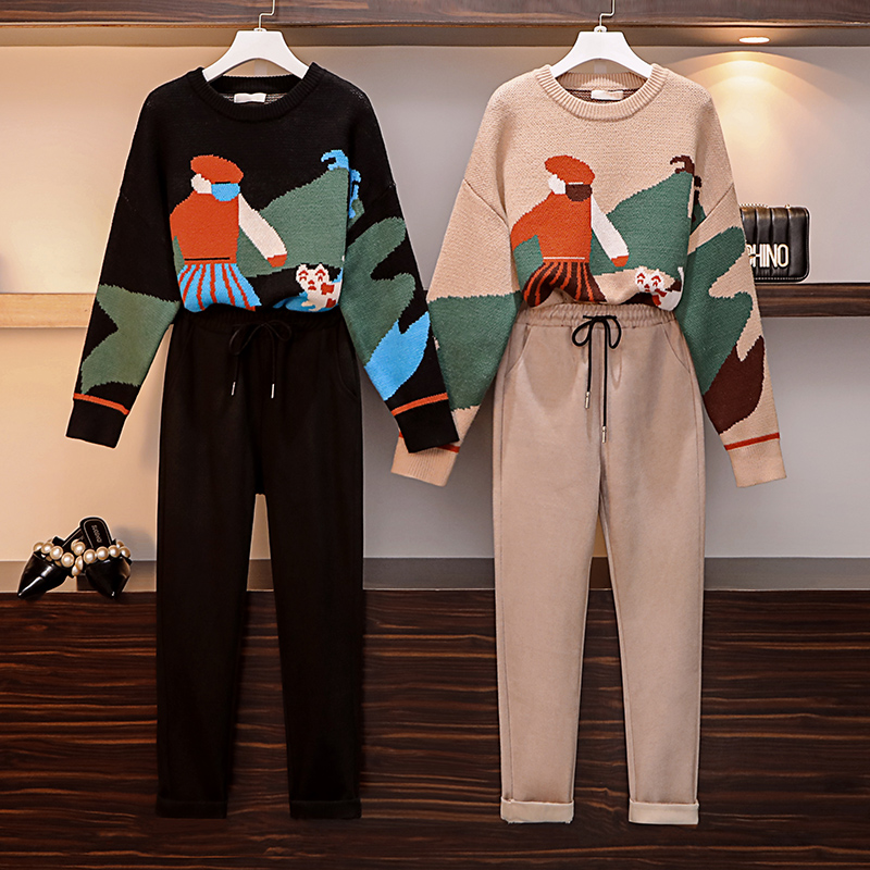 Large Size Women's Suit Autumn Winter Fashion Matching Suit Sweater + Skirt + Wool Pants Two Sets Of Two Sets