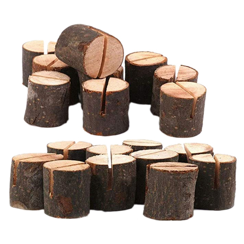 20 Pcs Rustic Wood Place Card Holders Circular Table Numbers Holder Stand Wooden Bark Memo Holder Card