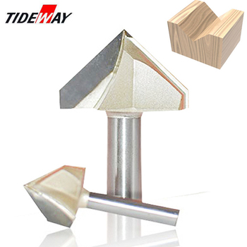 Tideway 1/4 Shank 90 Degree V Groove Type Slotting Cutter Freze Ucu Tungsten Router Bit Bits for Wood Woodworking Carving Tool 1pc superior tungsten carbide 3d chamfer bit carving tool v groove sharpen mill router bit shank 1 2 v px1 2x1 1 4