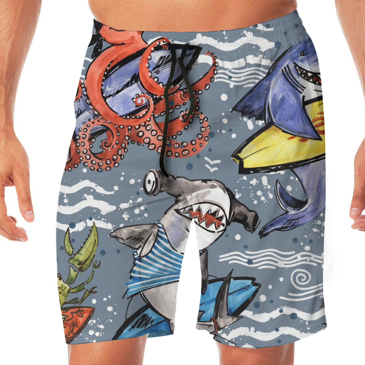 Cartoon Surf Shark Octopus Men's Beach Pants Quick Drying Beach Shorts Swimming Surfing Boating Water Sports Trunks