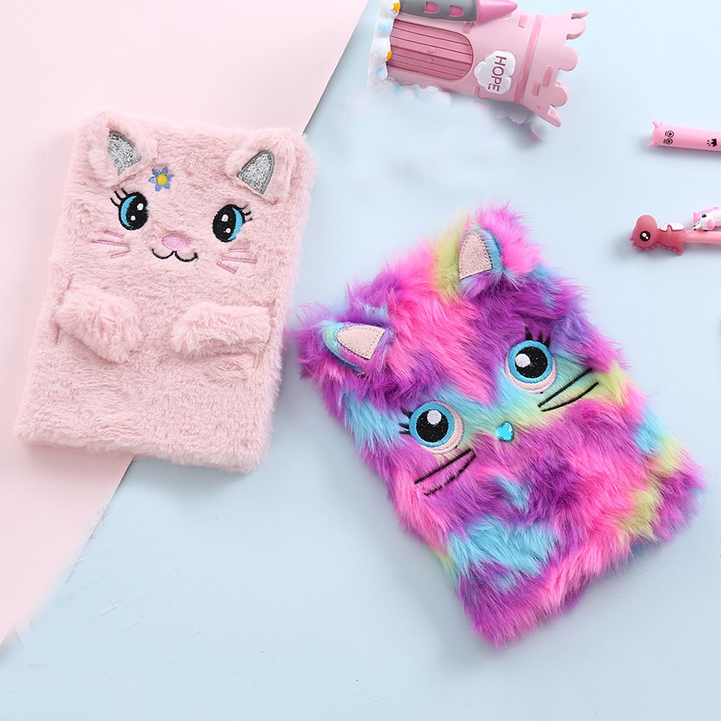 High Quality Fluffy Plush Cartoon Cute Diary Book Notebook Notepad Memo Paper High Quality Wedding Decoration Dropshipping