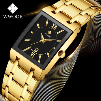 reloj hombre 2020 WWOOR Square Watches For Men Top Luxury Gold Business Quartz Mens Watch Waterproof Stainless Steel Wrist Watch reloj hombre wwoor men square watches slim white watch men steel mesh waterproof business date quartz wrist watch gift male xfcs