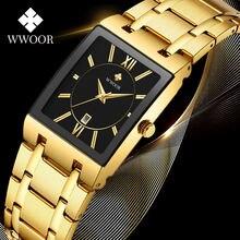 Часы reloj hombre 2020 wwoor мужские с квадратным циферблатом