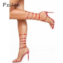 Pzilae/; женские сандалии-гладиаторы на высоком каблуке; женские летние туфли; Лидер продаж; Новинка; вечерние босоножки на тонком каблуке с тканевым ремешком на щиколотке