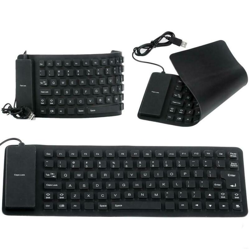 Portable Foldable Silikon Pc Keyboard Fleksibel Lembut Usb Hitam Mini Lipat Usb Gadgets Aliexpress