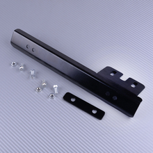 Dwcx universal 30x4.2cm amortecedor dianteiro da placa de licença relocalizador suporte montagem barra kit preto liga alumínio